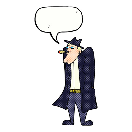 cartoon man in hat and trench coat with speech bubble Vector