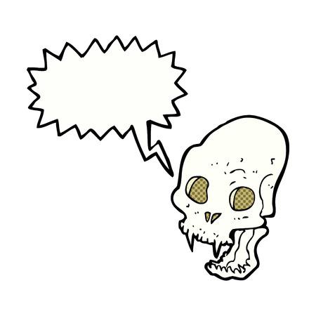 cartoon spooky vampire skull with speech bubble Vector