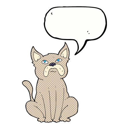 grumpy: cartoon grumpy little dog with speech bubble Illustration