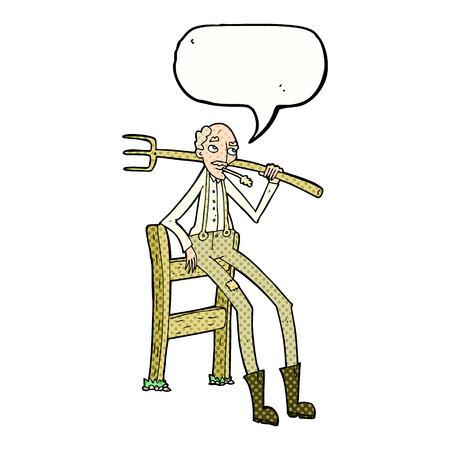 old farmer: cartoon old farmer leaning on fence with speech bubble Illustration