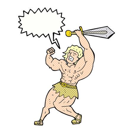 heroic: cartoon barbarian hero with speech bubble