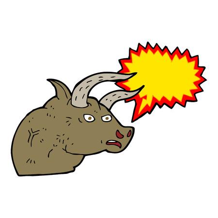 angry bull: cartoon angry bull head with speech bubble Illustration