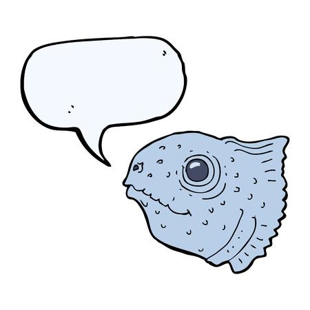 fish head: cartoon fish head with speech bubble Illustration