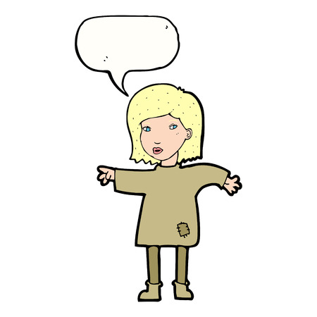 patched: cartoon woman in patched clothing with speech bubble