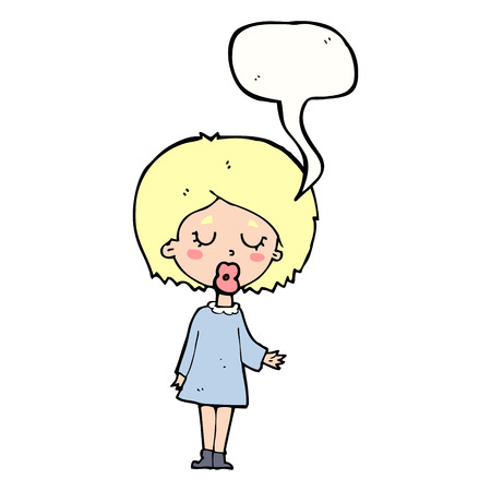 explaining: cartoon woman explaining her point with speech bubble Illustration