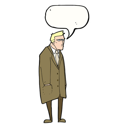 tempered: cartoon bad tempered man with speech bubble