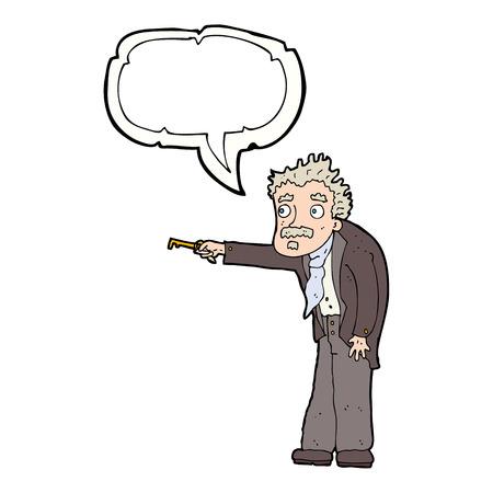 tremante: cartone animato uomo tremando di chiave di sblocco con il fumetto