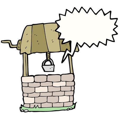 wishing: cartoon wishing well with speech bubble