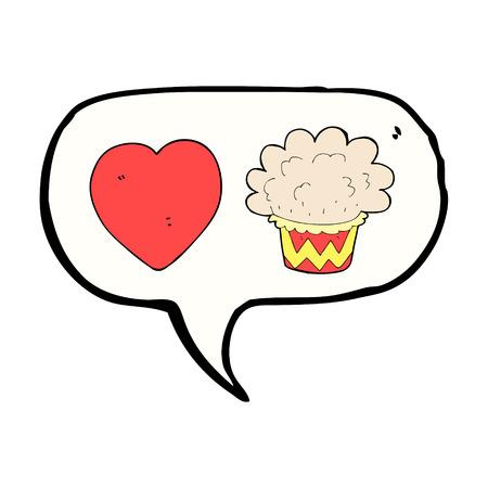 cartoon cupcake with speech bubble Vector