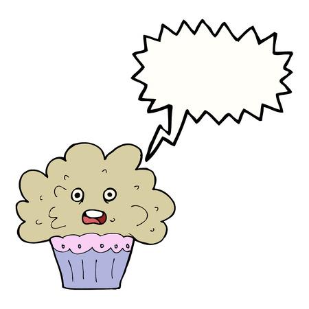 cartoon big cupcake with speech bubble Vector