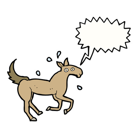 sweating: cartoon horse sweating with speech bubble Illustration