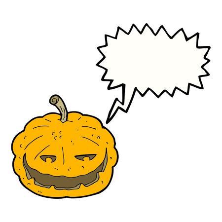 cartoon halloween pumpkin with speech bubble