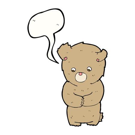cartoon shy teddy bear with speech bubble Illustration