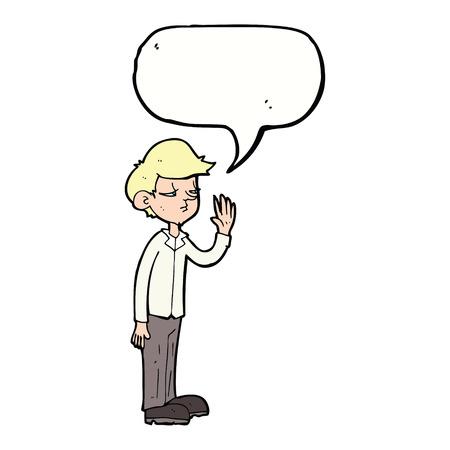 jaded: cartoon arrogant boy with speech bubble