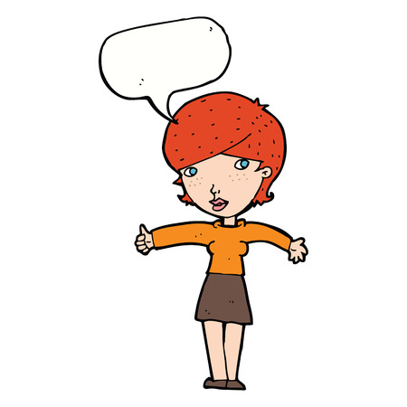 thumbs up symbol: cartoon woman giving thumbs up symbol with speech bubble