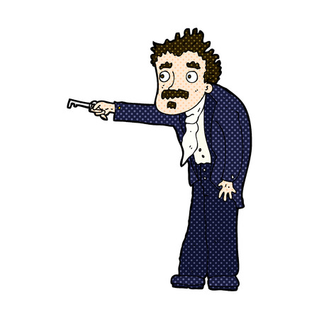 unlocking: retro comic book style cartoon man trembling with key unlocking