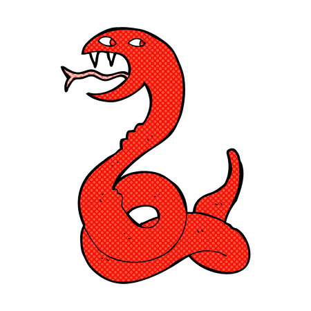 hissing: retro comic book style cartoon hissing snake Illustration