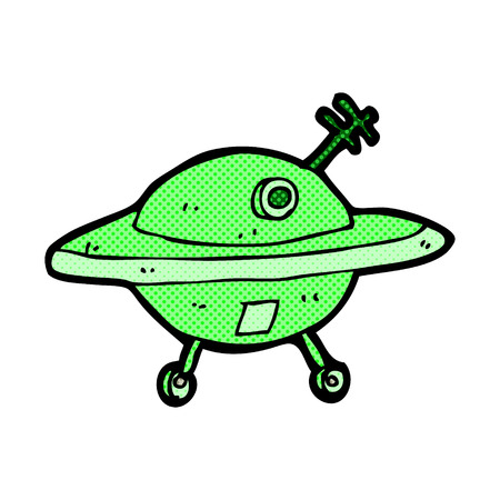 saucer: retro comic book style cartoon flying saucer Illustration