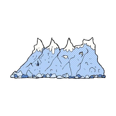 range: retro comic book style cartoon mountain range Illustration