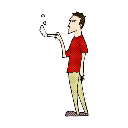 흡연자: retro comic book style cartoon annoyed smoker