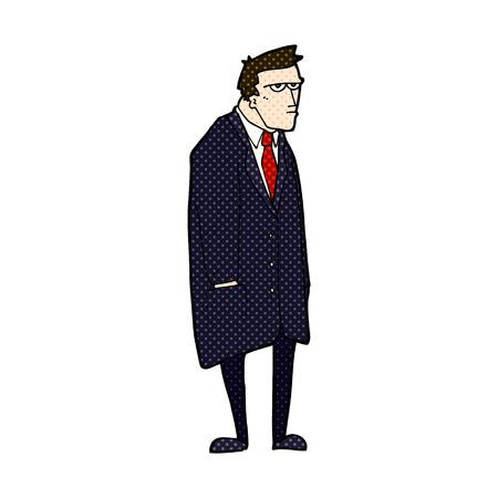 tempered: retro comic book style cartoon bad tempered man Illustration