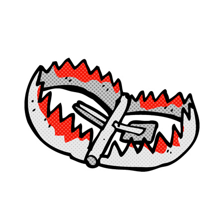 bear trap: retro comic book style cartoon bear trap