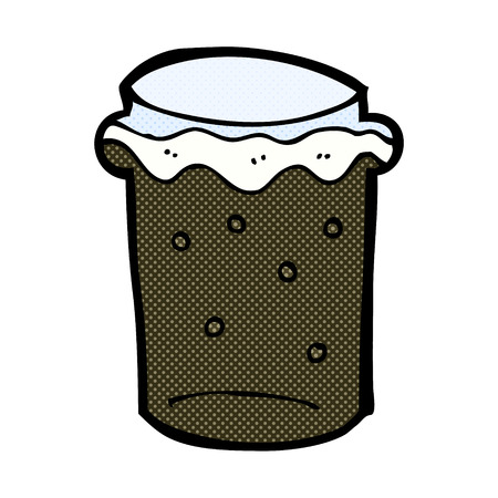 cerveza negra: vidrio de dibujos animados retro estilo del c�mic de cerveza stout