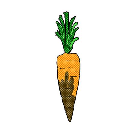 cartoon carrot: retro comic book style cartoon carrot Illustration