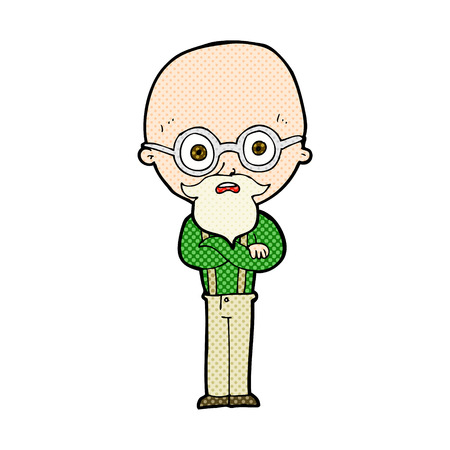 folded arms: retro comic book style cartoon annoyed old man