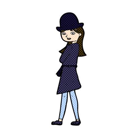 retro comic book style cartoon female spy Vector