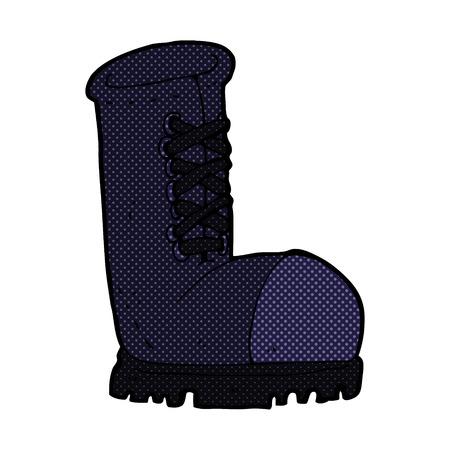 steel toe boots: retro comic book style cartoon old work boot Illustration