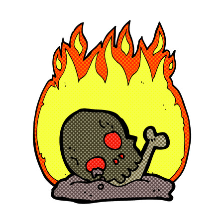 buried: retro comic book style cartoon burning old bones