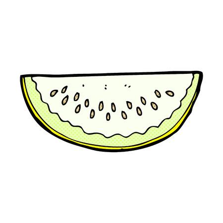 melon: retro comic book style cartoon melon slice Illustration
