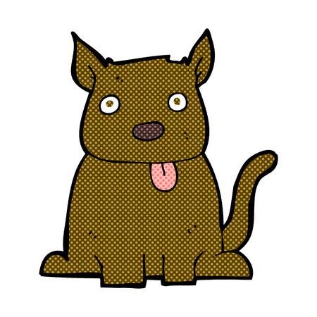 sticking: retro comic book style cartoon dog sticking out tongue
