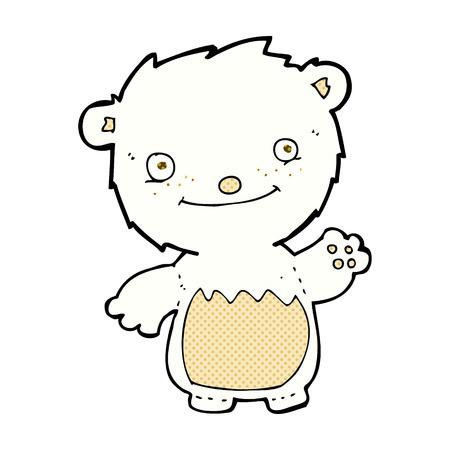 retro comic book style cartoon waving polar bear cub