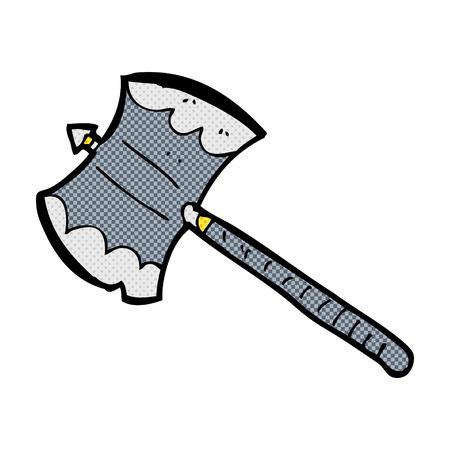 sided: retro comic book style cartoon double sided axe