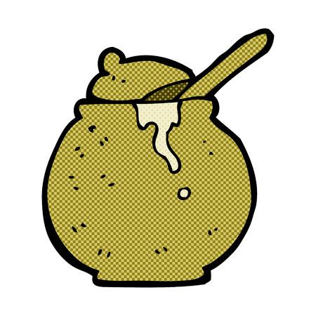 pot miel: r�tro bande dessin�e de style de livre de miel de bande dessin�e pot