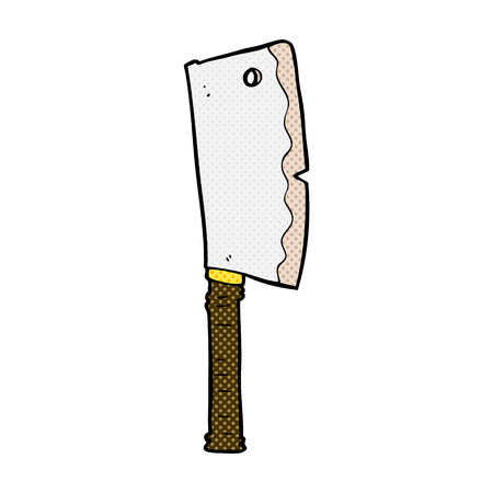 retro comic book style cartoon meat cleaver Vector