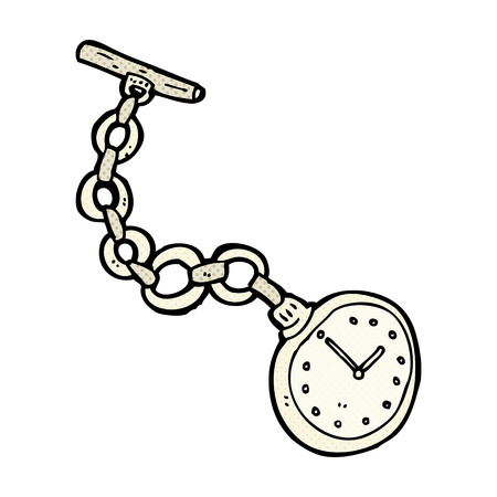 pocket book: retro comic book style cartoon old pocket watch Illustration