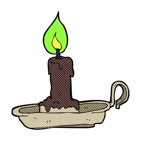 retro comic book style cartoon spooky candlestick Vector