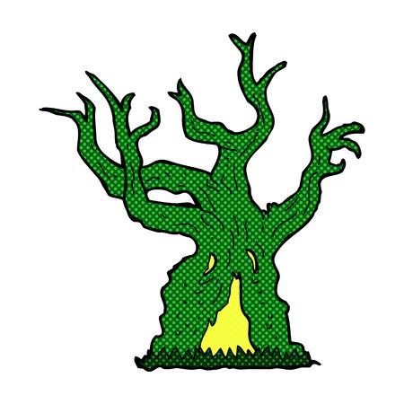 retro comic book style cartoon spooky old tree Illustration