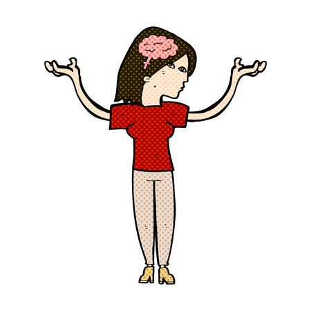 intelligent: retro comic book style cartoon intelligent woman