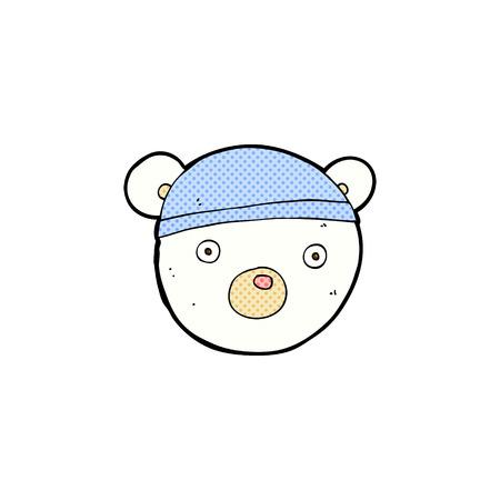 bear cub: retro comic book style cartoon polar bear cub wearing hat Illustration