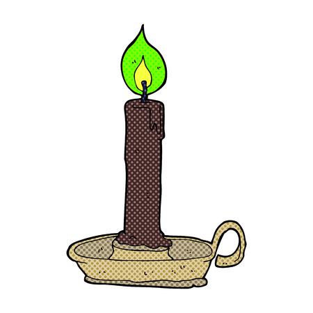 burning candle: retro comic book style cartoon burning candle Illustration