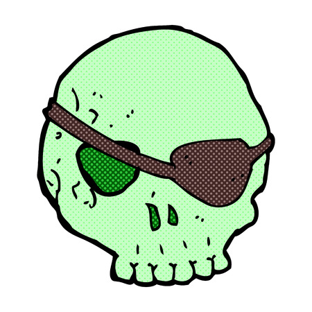 eye patch: retro comic book style cartoon skull with eye patch Illustration