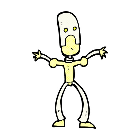 retro comic book style cartoon funny robot