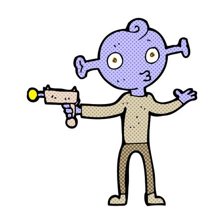 ray gun: retro comic book style cartoon alien with ray gun