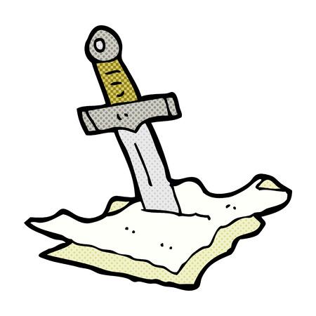 dagger: retro comic book style cartoon dagger in maps