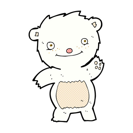 cub: retro comic book style cartoon waving polar bear cub