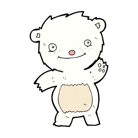 bear cub: retro comic book style cartoon waving polar bear cub